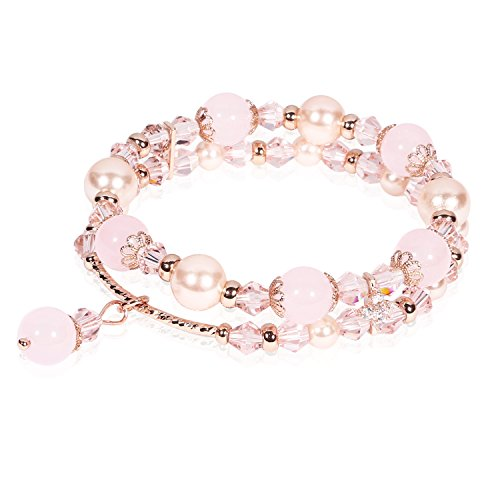 Beaded Bracelet Handmade Faux Pearl Crystal Natural Stone Elastic Chain Rhinestone Charm Bracelets Hair Rope Decoration for Women Teen Girls Perfect Valentine Gift Packaging (Pink & Double (Crystal Double Row Bracelet)