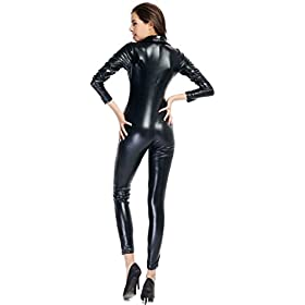 - 41zKGKsGCsL - Ensnovo Womens Shiny Metallic Lycra Spandex Shirt Collar Zipper Catsuits