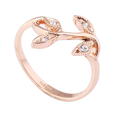 Acefeel 18K Rose Gold Plated Czech Drilling Leaves Vines Womens Fashion Ring Valentine's Day Gift R028 Size 7