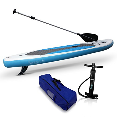 SereneLife Inflatable Stand Up Paddle Board (6 Inches Thick) Universal SUP Wide Stance w/ Bottom Fin for Paddling and Surf Control | Non-Slip Deck | Youth and Adult (Marine Blue)