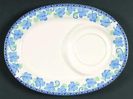 PFALTZGRAFF Blue Isle ~SET/3~ Oval Snack Trays & Dip Bowls~Blue & Green Leaves On Rim~Discontinued 2001