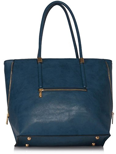 Ladies New Faux leather Sized Large Shoulder Design Handbags With Womens Navy Tote Top Designer 1 Bags Zip qwvxR4E
