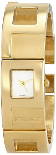 (Peugeot Women's 750G Gold-Tone Watch with Cuff Bracelet)