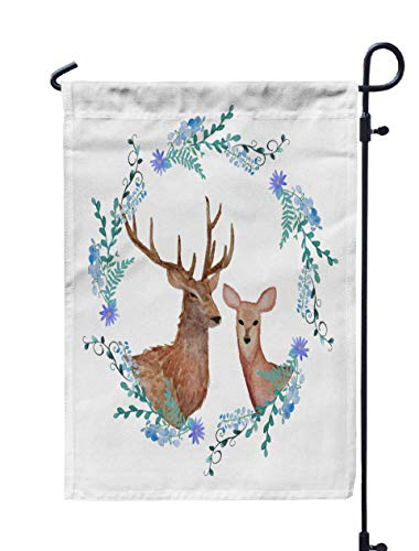 Shorping Welcome Garden Flag, 12x18Inch Deers in Love Watercolor Coat Arms Painted Wedding Floral Frame for Holiday and Seasonal Double-Sided Printing Yards Flags