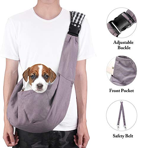 TopDirect Pet Carrier, Hand Free Sling Carry Bag Adjustable Padded Shoulder Strap Tote Bag with Front Pocket & Safety Belt Outdoor Travel Puppy Carrying for Walking Subway
