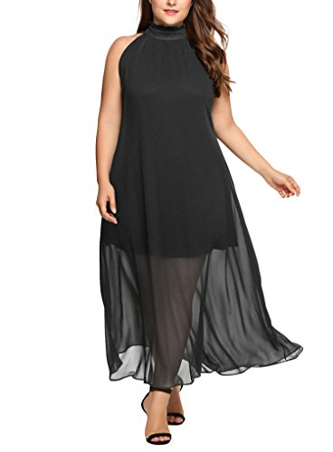 IN'VOLAND Involand Womens Plus Size V Neck Gown Dress Twist Knot Shoulder Cocktail Evening Party Dresses (22W, Black 3) ()