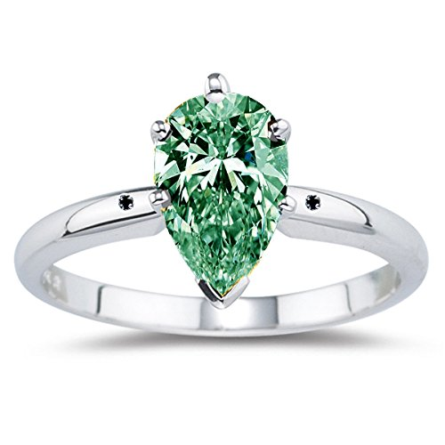 RINGJEWEL 1.38 ct /Si1 PEAR Real Moissanite Solitaire Engagement & WEDDING Ring GREEN Size 7