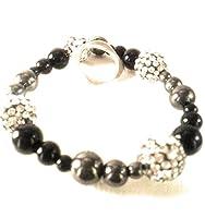 Hematite, Black Onyx and Black Sparkle Shamballa Beads
