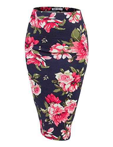 (Doublju Stretch Knit Midi Pencil Skirt with Back Slit for Women with Plus Size NAVYPINK 2XL)