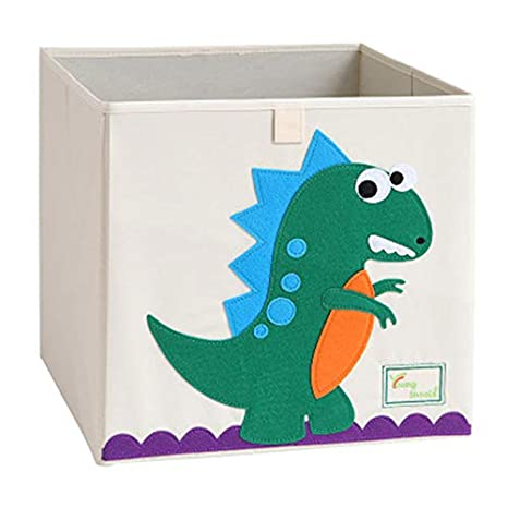 Stuffed Animal Clothes Children Books Pink Dinosaur Collapsible Canvas Storage Basket or Bin Toy Organizer for Kids Playroom
