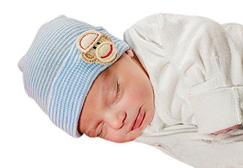 Infanteenie Beenie blue and white sock monkey baby boy newborn hospital hat