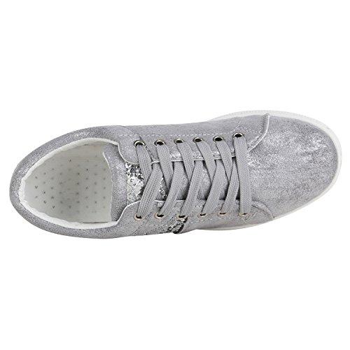 Damen Sneaker Low Basic Sneakers Lack Metallic Turnschuhe Glitzer Schuhe Snake Sportschuhe Leder-Optik Denim Schnürer Flandell Grau Glitzer