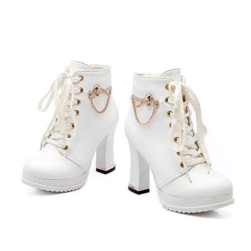 AllhqFashion Mujeres Tacón ancho Caña Baja Botas con Tachonado de Diamante de Imitación Blanco