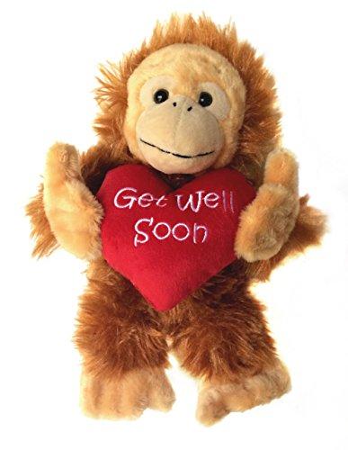 Bobo Get Well Soon Monkey, Cheer Up, Feel Better Stuffed Animal, 10 Inch
