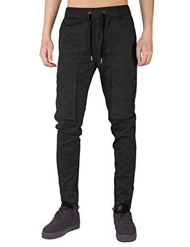 THE AWOKEN Men's Chino Cargo Regular Fit Pants Multi Pockets Workwear Black (Black, XL)