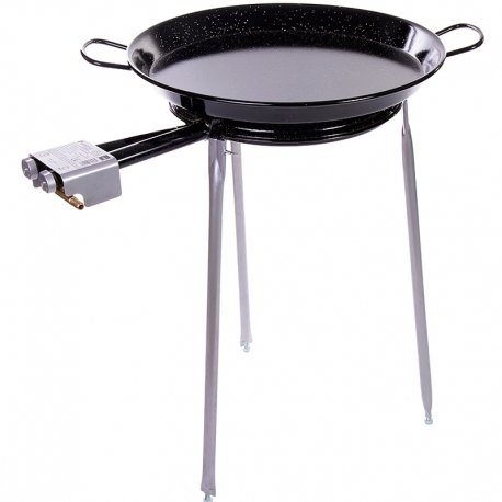Paella Pan Enamelled + Paella Gas Burner and Stand Set - Complete Paella Kit for up to 13 Servings (Nonstick) by Castevia