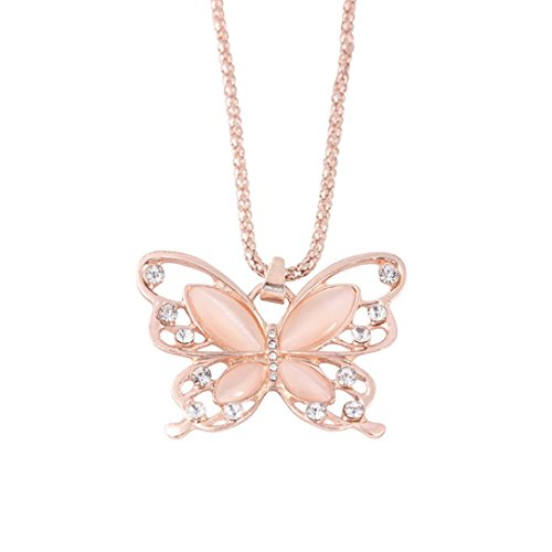 Gyoume Cute Teen Girls Women Butterfly Pendant Necklace Insect Necklace Lovers Friend Best Gifts (A, Rose Gold) for $<!--$0.38-->