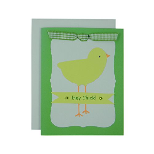 Easter Greetings Chick (Easter Chick Greeting Card - Handmade Easter Card - Hey Chick - Easter card for kids with Easter Chick - Green and White with Ribbon & Gems)