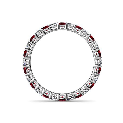 Ruby & Diamond 2.4mm Shared Prong Eternity Band 1.28 ct tw 1.49 ct tw in 14K Gold