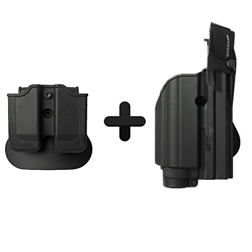 IMI Defense Light Laser Roto Holster & Double Mag Pouch For Sig Sauer P226, P229 Pro, 2022, P250 Compact / Full size, MK25 Pistol Handgun