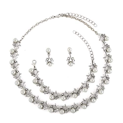 (MOOCHI Silver-Plated White Simulated Pearls Crystal Twig Pattern Jewelry Set)