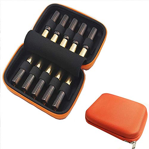 Gogobag Essential Oil Carrying Case for 10 Bottles 5ml - 10ml, Essential Oil Travel Case, Hard Shell Case (Orange)