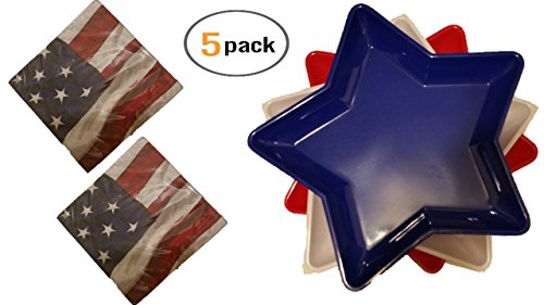 Plastic Serving Trays (3) Patriotic Dishes - Red White and Blue Bundle Includes - Melamine Tray - Flag Napkins