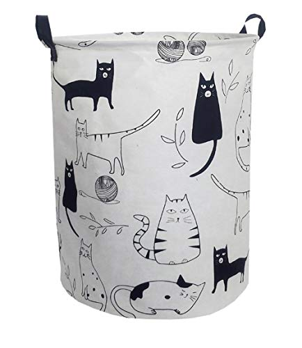 ESSME Large Storage Bin,Canvas Fabric Storage Baskets with Handles,Collaspible Laundry Hamper for Household,Gift Baskets,Toy Organizer (Kitty) (Fabric Hamper)