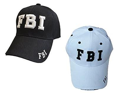 FBI Embroidered Baseball Caps, White or Black