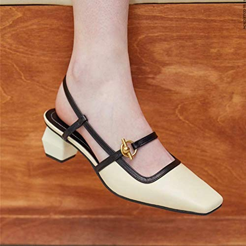 Sandals And Heels Rear Wild Heads Empty Heels Women High Baotou Shoes Color Shoes SFSYDDY Combinations Square Middle Beige 8q61axw