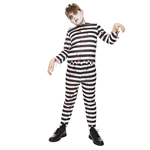 Bloody Tears Costumes - Bloody Zombie Convict Costume - Halloween Kids Scary Jail Prison Escapee,