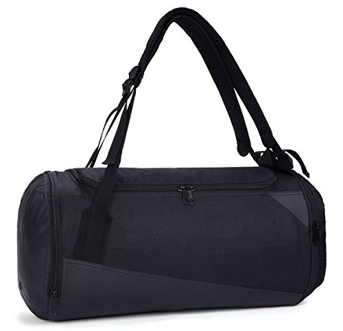 MIER Lightweight Gym Sports Bag Travel Duffel Backpack with Shoes Compartment for Men and Women, Waterproof Bottom, 35L, Black
