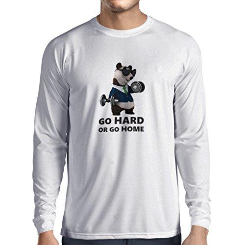 Camiseta de Manga Larga para Hombre'Go Hard or Go Home' - Boxeo, Levantamiento, Gimnasio, Fitness - Ropa de Ejercicio...