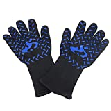 BBQ Gloves Heat Resistant Grill Gloves, Flame Retardant Nonslip High Temperature Fire Resistant Insulation Gloves for Barbecue,Cooking, Baking 2PCS