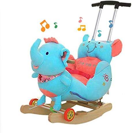 JTYX Silla de Madera para niños Caballo Mecedora para bebés Mecedora para bebés de Madera Maciza con música Mecedora para niños Regalo de cumpleaños