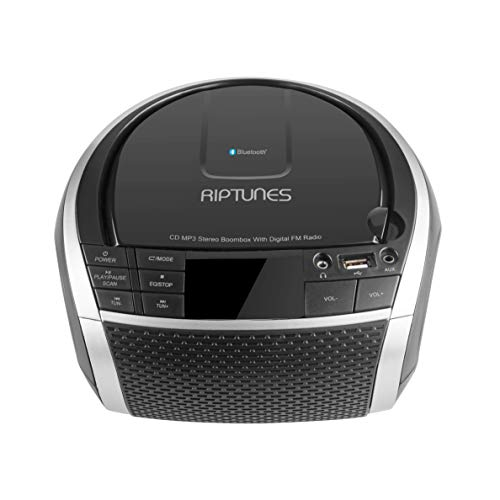 RIPTUNES Stereo Boombox, Portable MP3 CD Player, Bluetooth, Radio FM, Digital LED Display, USB Playback, 3.5mm AUX Input (Cable Included) and Headphone Jack, Black