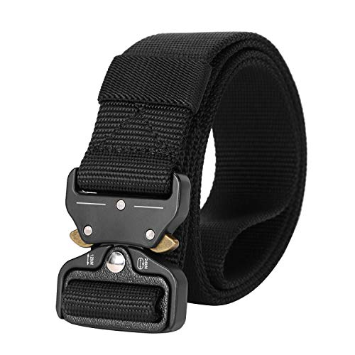Mens Tactical Belt Plus Size, Military Style Army Nylon Web Belt 1.5 inch with Heavy Duty Quick-Release Buckle