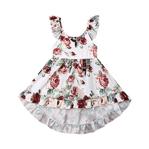 Toddler Baby Girls Summer Outfit Clothes Fly Sleeve Vintage Floral Print Ruffle Rim Skirt Sundress Boho Dress (3-4T, White) for $<!--$12.99-->
