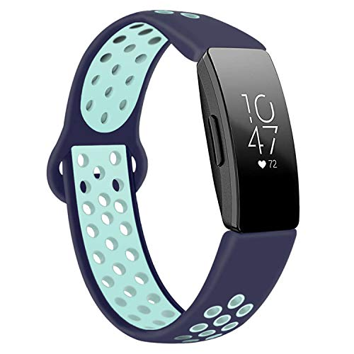 DYKEISS Sport Band Compatible for Fitbit Inspire HR Fitness Tracker Band, Soft Silicone Replacement Accessory Women Men Breathable Wristband Strap (Large, Blue/Teal)