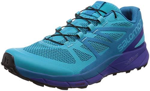 Salomon Women's Sense Ride Running Trail Shoes Bluebird/Deep Blue/Black 7.5 (Box Trail Bluebird)