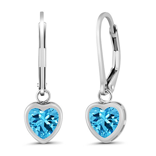 - Gem Stone King Sterling Silver Swiss Blue Topaz Earrings (2.00 cttw, 6MM Heart Shape)
