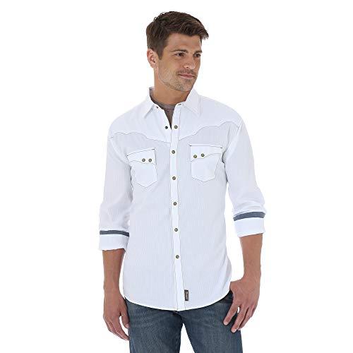 (Wrangler Men's Retro Two Pocket Long Sleeve Snap Shirt, White, Large)