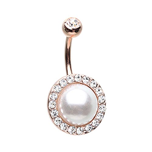 Rose Gold Colored Royal Supreme Jewelled Pearl Belly Button Ring - 14G (1.6mm) - Sold Individually