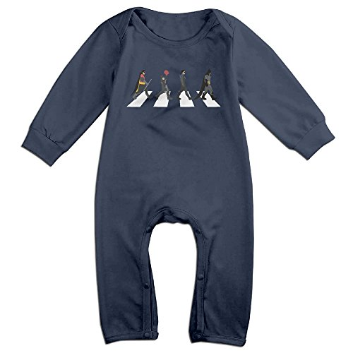 [Baby Boys Girls Batman On Abbey Road Cute Short Sleeve Bodysuit Onesie Navy 12 Months] (Batman Arkham Suit)