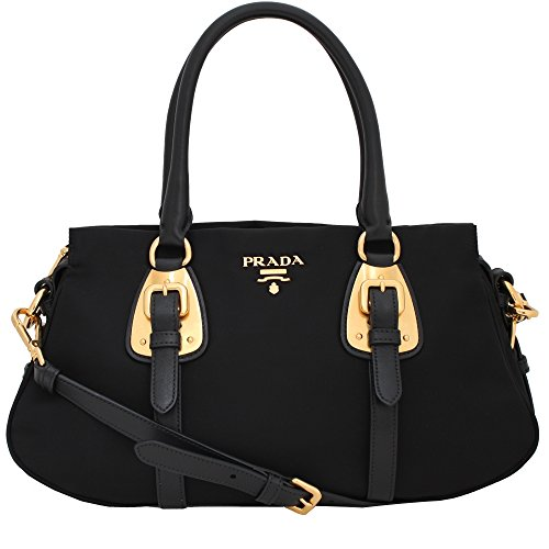 Prada Tessuto Black Nylon Leather Convertible Top Handle Satchel Bag Shoulder Handbag - Handbag Shoulder Prada