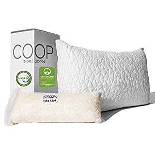 Coop Home Goods - Premium Adjustable Loft Pillow - Hypoallergenic Cross-Cut Memory Foam Fill - Lulltra Washable Cover from Bamboo Derived Rayon - CertiPUR-US/GREENGUARD Gold Certified - Queen