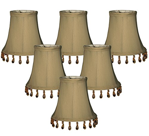 Royal Designs CS-313B-5AGL-6 (6 Pack) Beaded Bell Chandelier Lampshade, Antique Gold