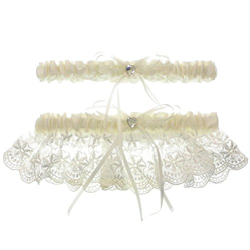 (DivaDesigns Floral Lace Ruffle Heart Shape Crystal Ribbon Wedding Garter Set with Toss Away Ivory)