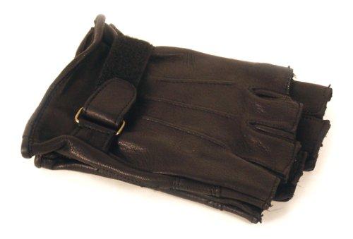 Napa Goatskin Leather Fingerless Gloves with Gel Pad (Black, Medium) ()
