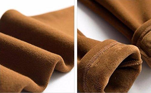 GBHNJ Leggings Femmes Grande Taille Plus Épais Pantalon Slim L'Automne Et L'Hiver Peut Se Porter À L'Extérieur Jaune Thermique F(Poids Approprié 80-130 Catty)